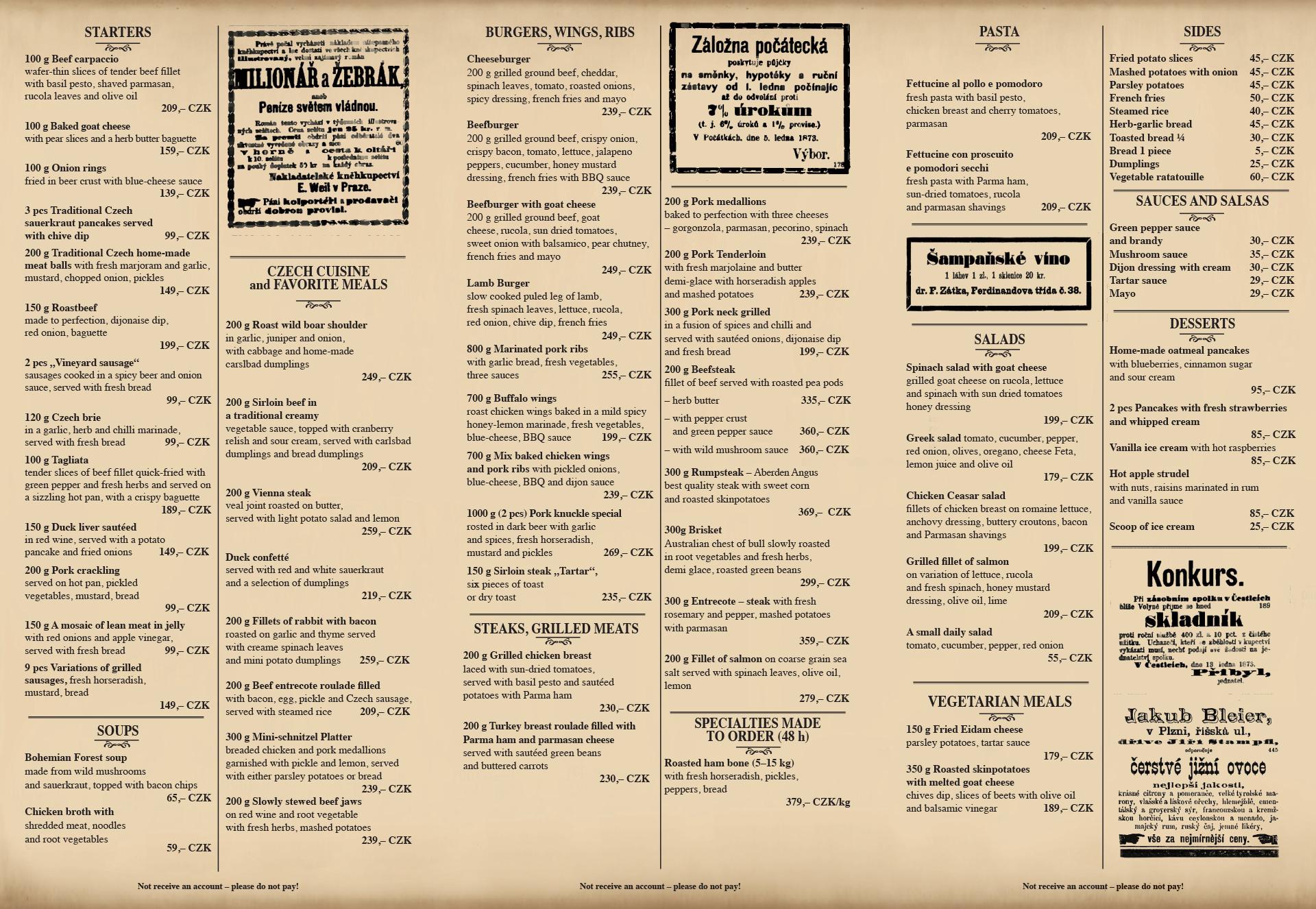 jídelní list Mlsnej Kocour english / strana 2